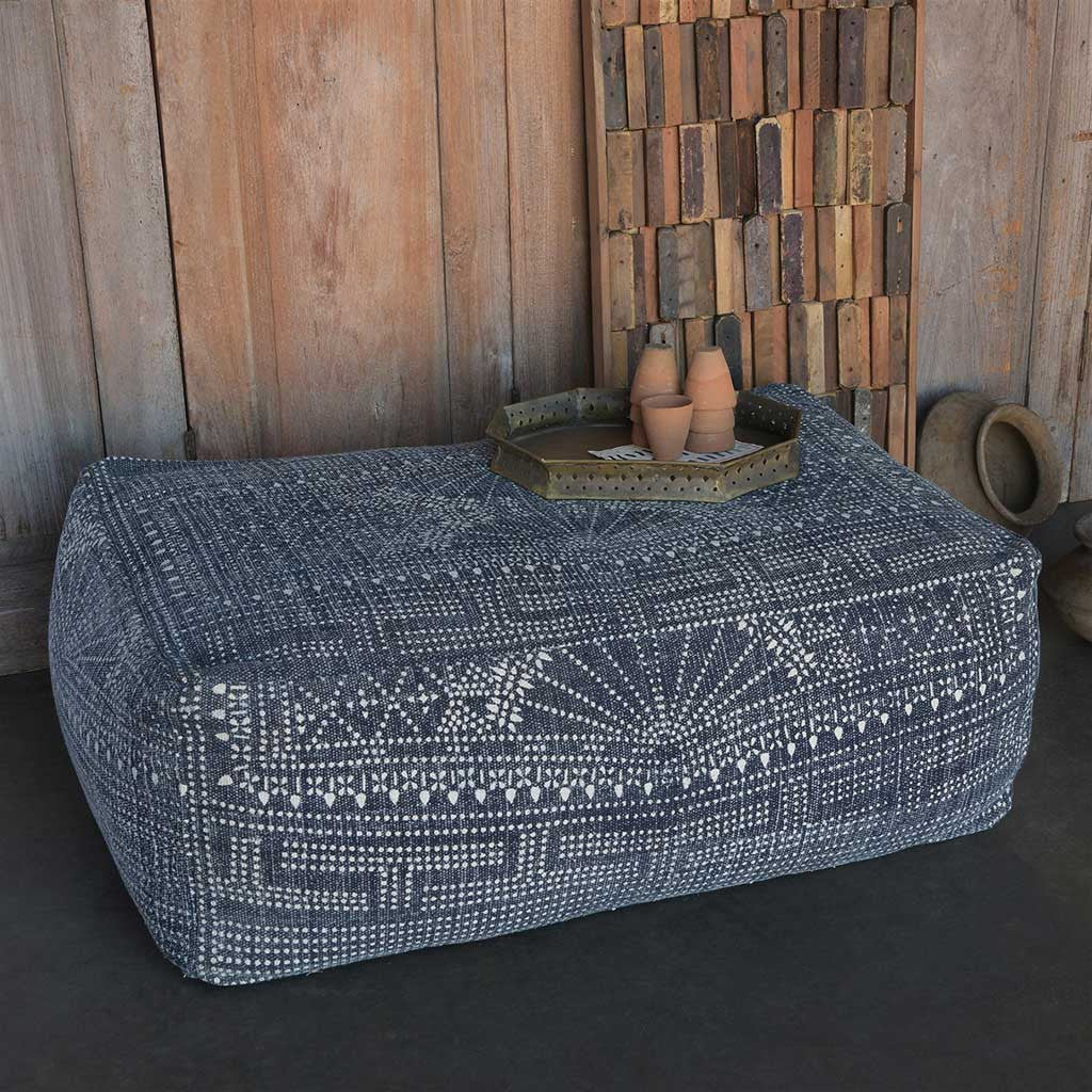 Indigo Batik Rectangle Pouf