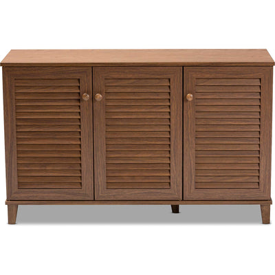 Seattle 8-Shelf Wood Shoe Cabinet Walnut