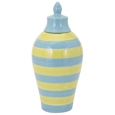 Saline Blue And Green Striped Lidded Vase Small