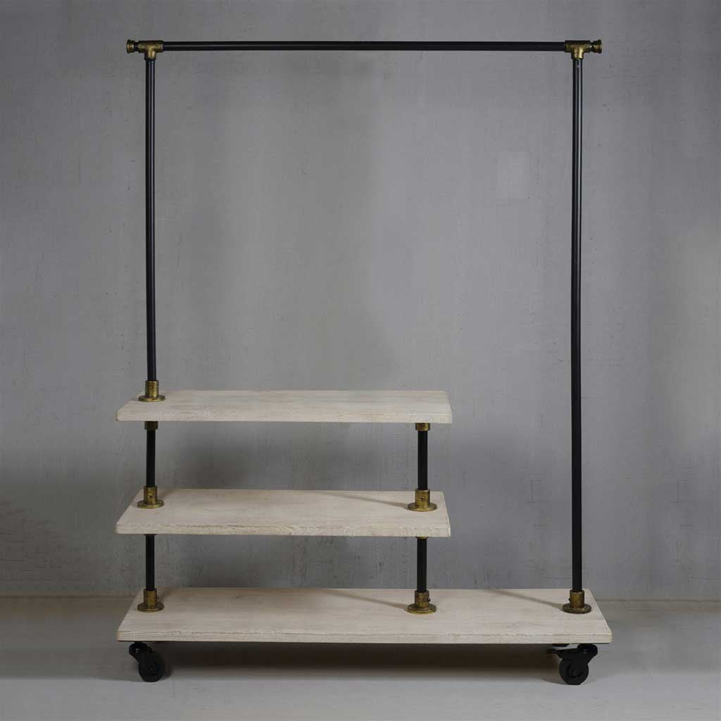 Refined Wood/Iron Hall Rack