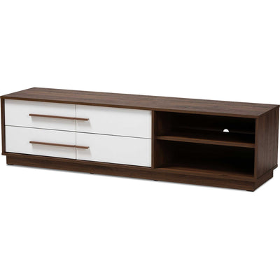 Mega 4-Drawer TV Stand White/Walnut