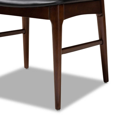 Seattle Wood Dining Chair Black/Walnut (Set of 2)