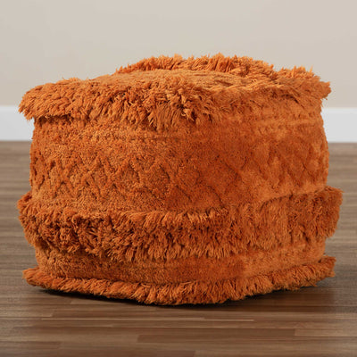 Cutler Handwoven Cotton Pouf Orange