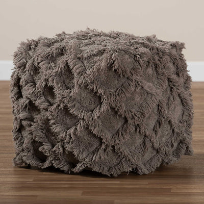Ashley Handwoven Cotton Fringe Pouf Taupe