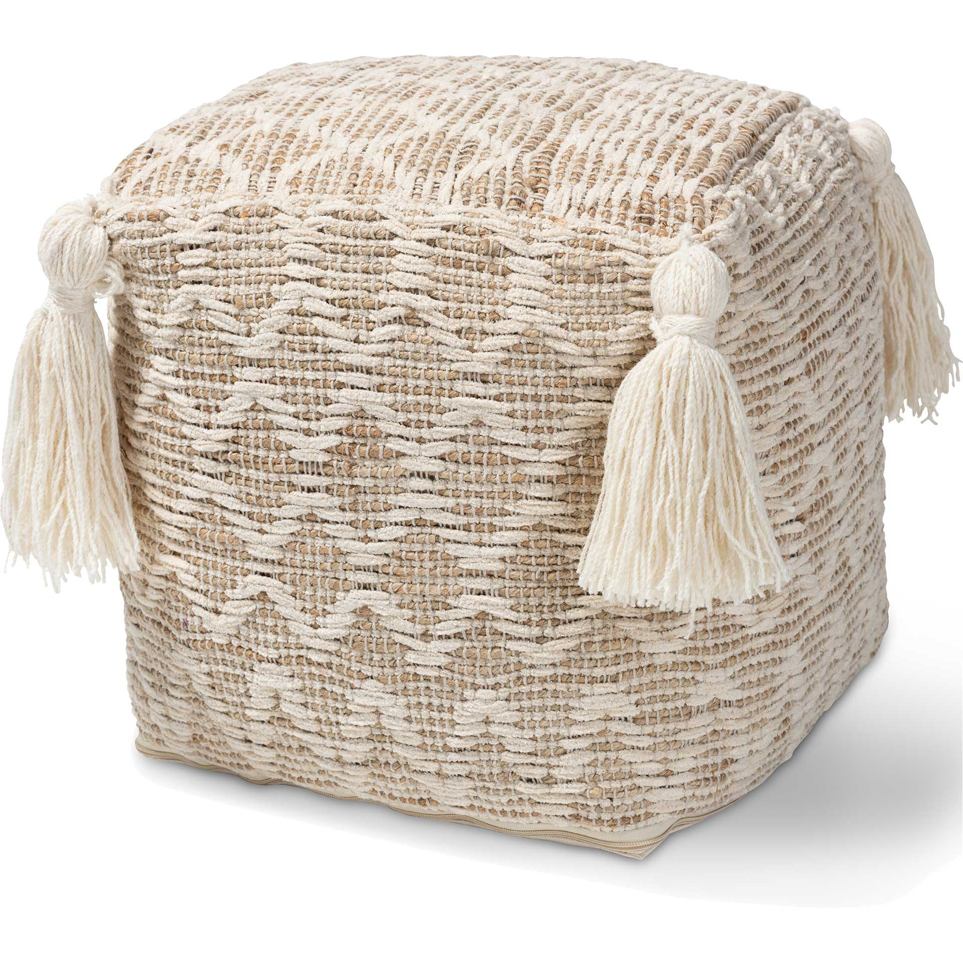 Noam Handwoven Cotton/Hemp Pouf Natural/Ivory