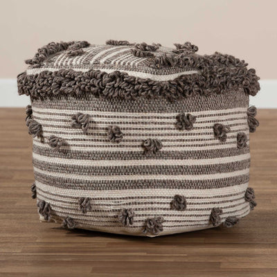 Elaina Handwoven Wool Pouf Ivory/Brown