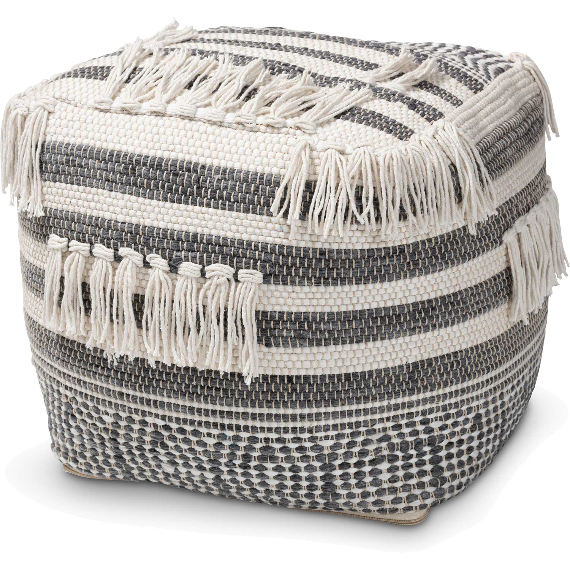 Kiam Handwoven Cotton Pouf Gray/Ivory