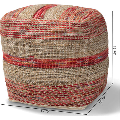 Camila Handwoven Hemp Pouf Multi/Natural