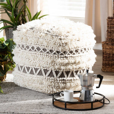 Velina Handwoven Wool Pouf Beige/Brown