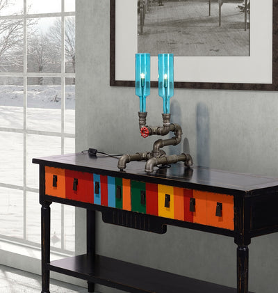 Planar Table Lamp Brass & Blue Glass