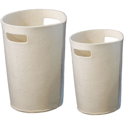 Olt Felt Round Wastebasket Cream (Set of 2)