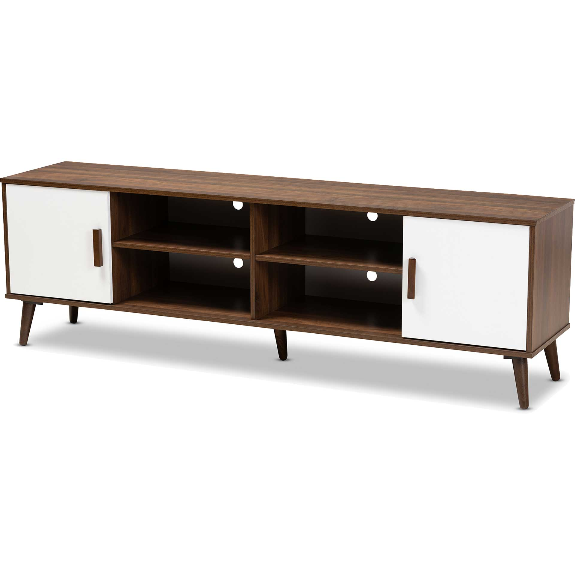 Quan 2-Door TV Stand Walnut/White