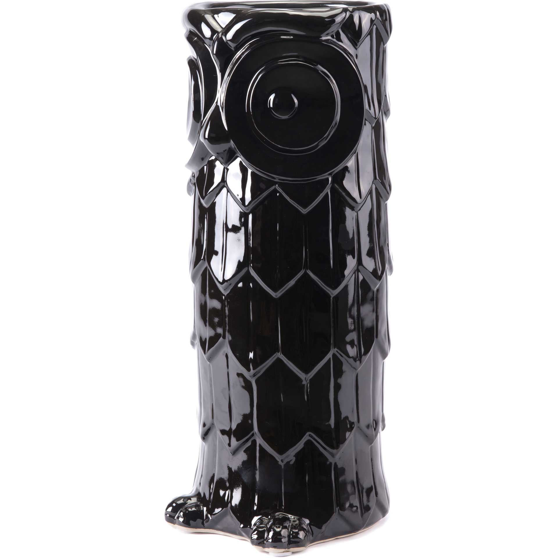 Owl Umbrella Stand Black