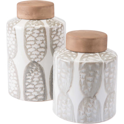 Feather Covered Jar Ivory/Sage Green
