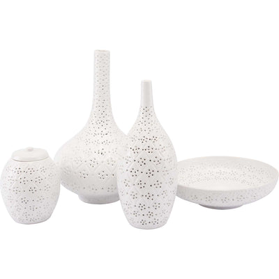 Floral Etched Vase White