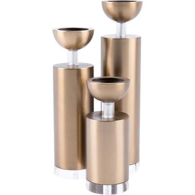 Cylinder Candle Holder Gold