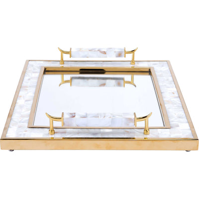 Mother of Pearl Horn Handle Tray White