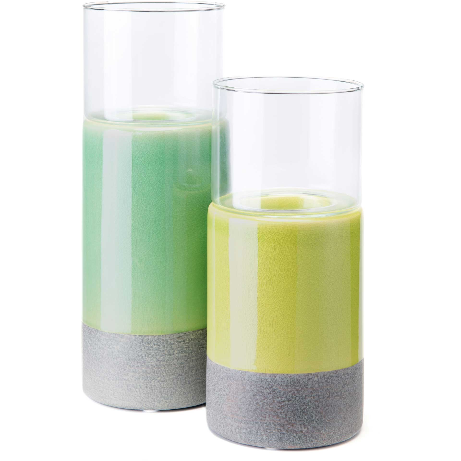 Stoneware Candle Holder Green/Gray