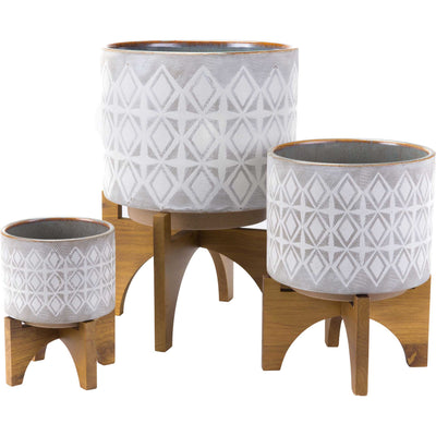 Arizona Wood Base Planter Gray/White