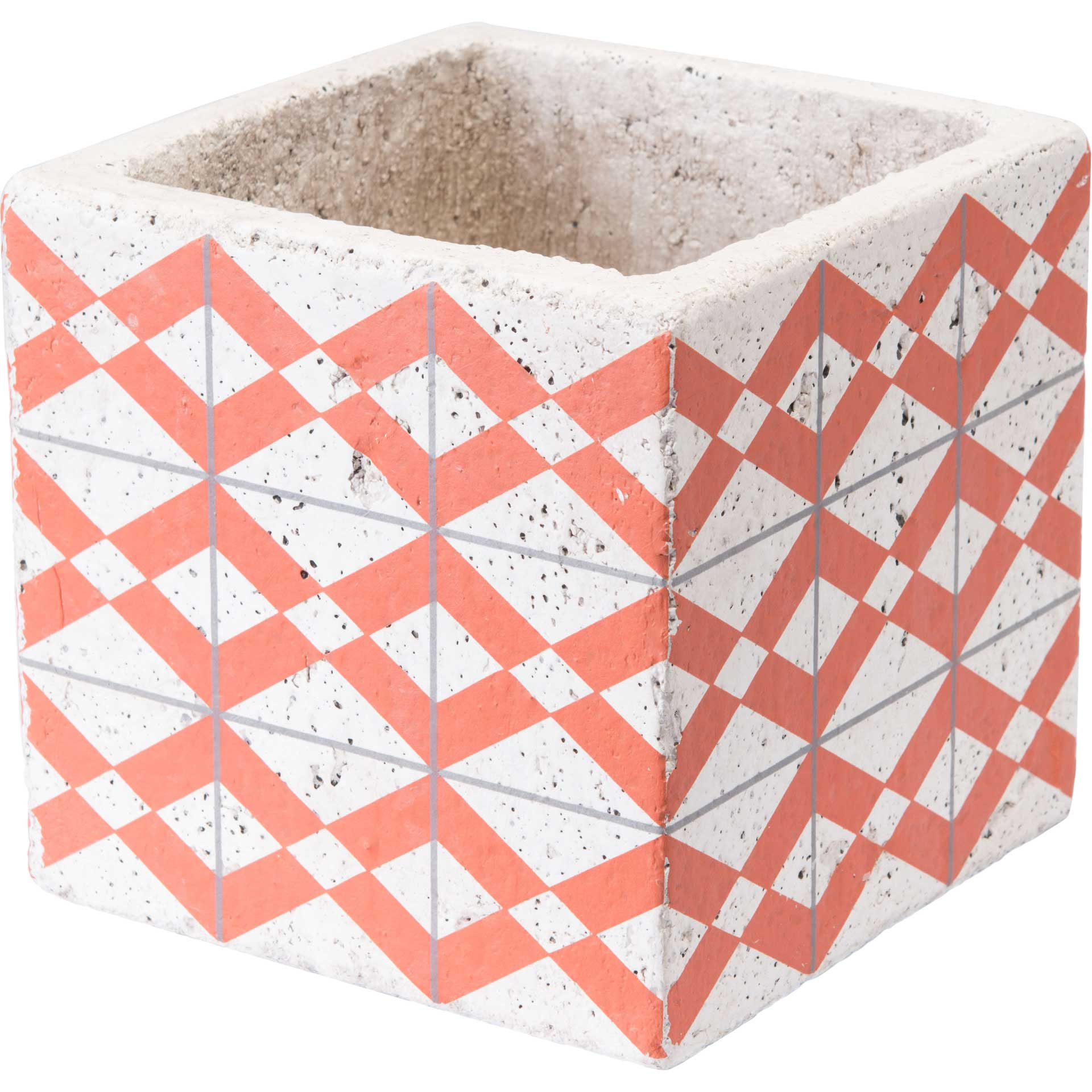 Cement Triangles Planter Orange/White