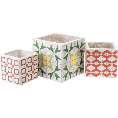 Cement Squares Planter Red/Orange