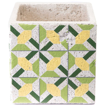 Cement Flower Planter Green/Yellow