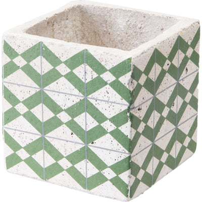 Cement Tribal Planter Green