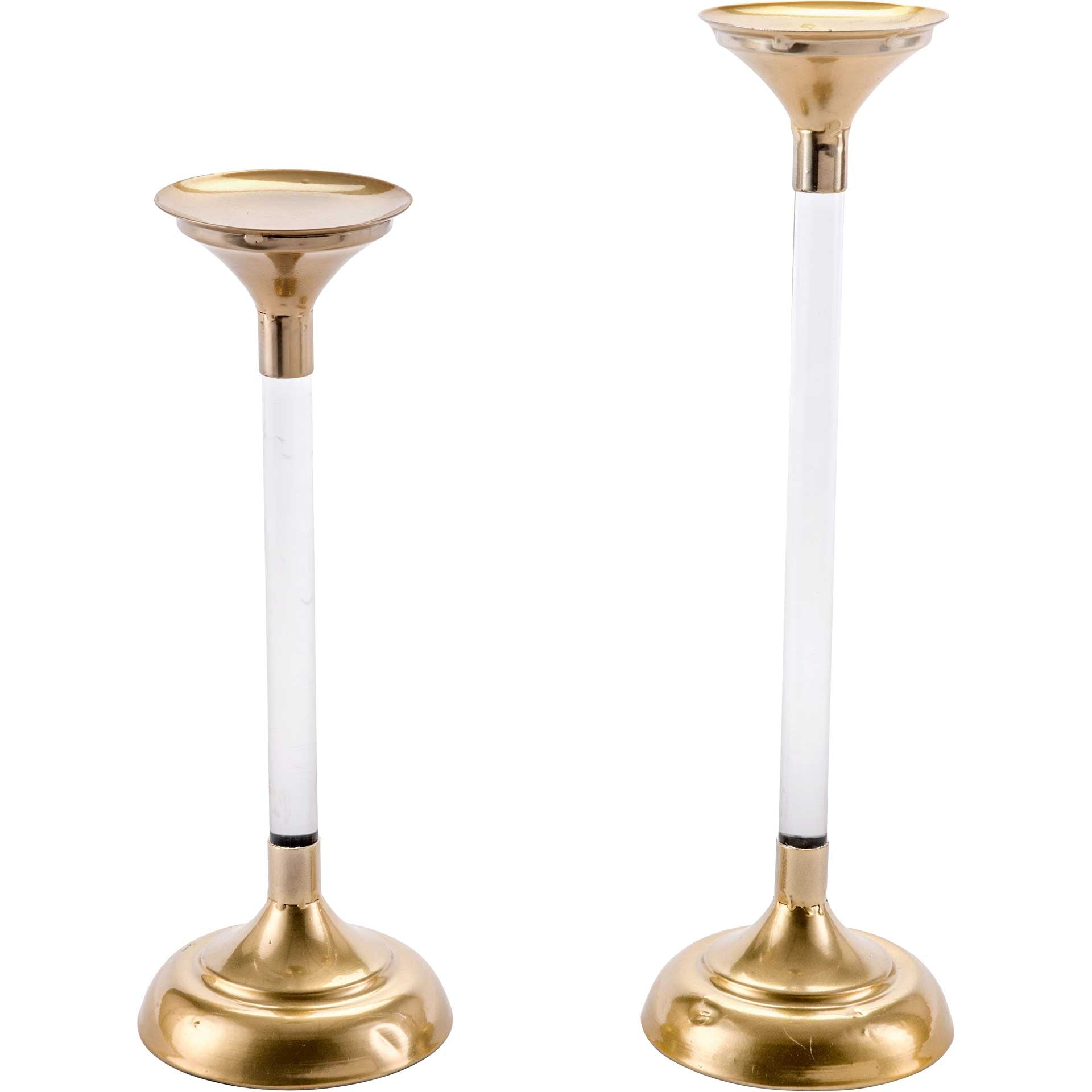 Elle Lucite Candle Holders Gold (Set of 2)