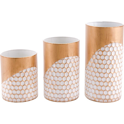 Honeycomb Candle Holders Gold (Set of 3)