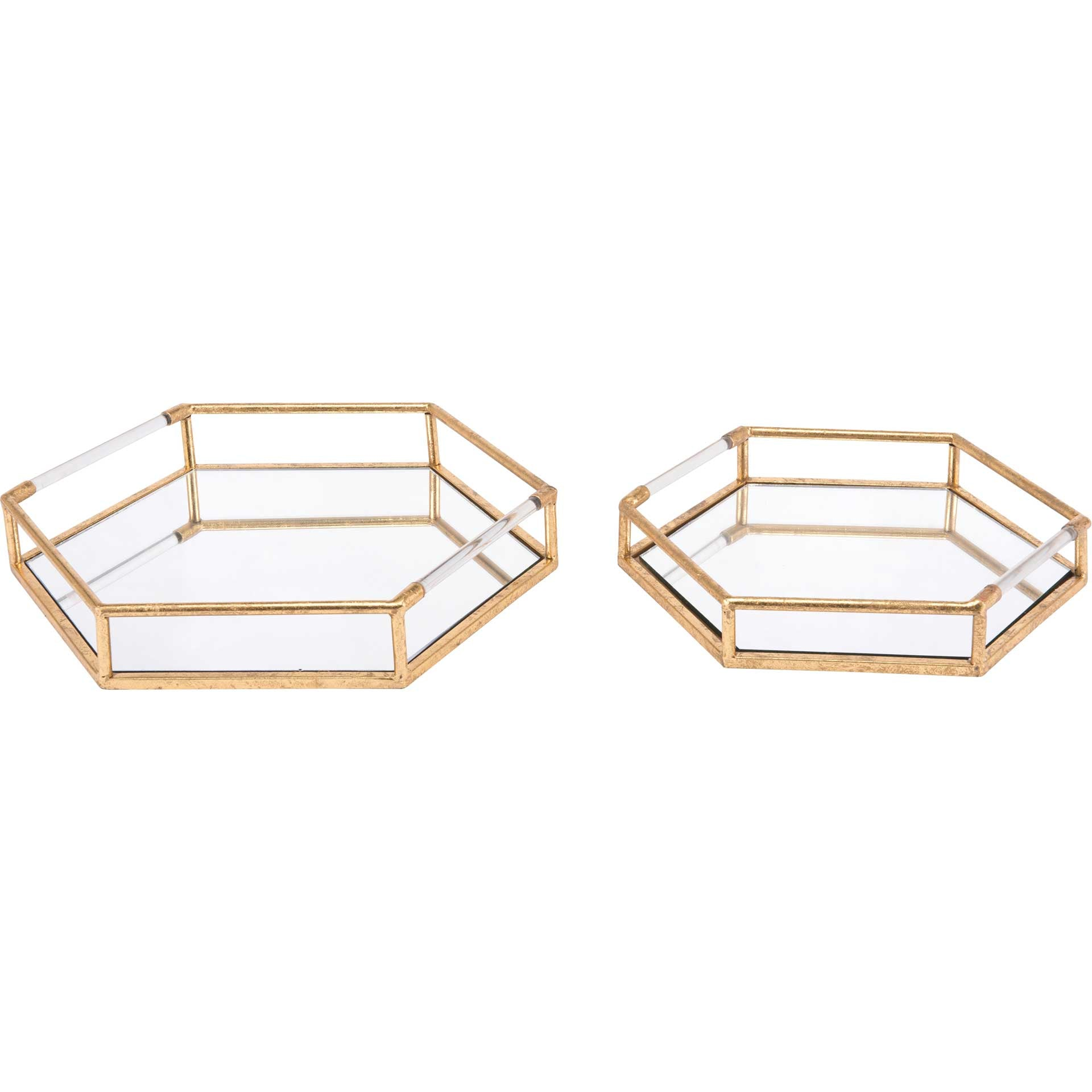 Hexagon Tray Gold (Set of 2)