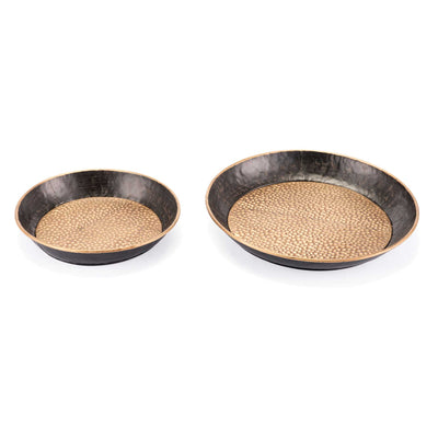 Hammered Metal Tray Antique (Set of 2)