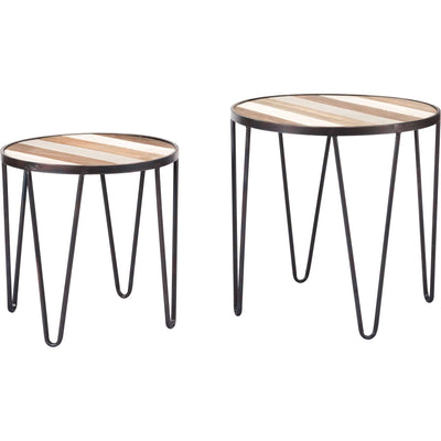 Striped Wood Tray Table Antique (Set of 2)