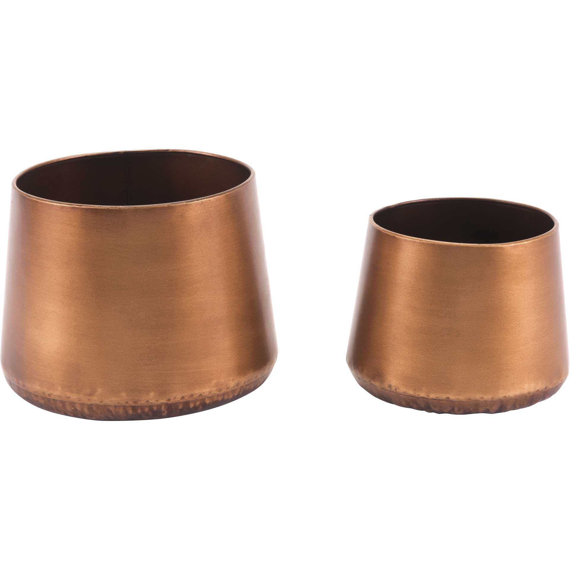 Tapered Copper Planters (Set of 2)