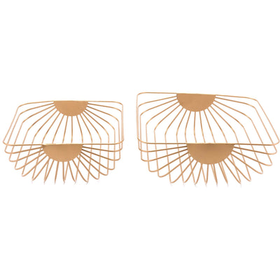 Wired Basket Tray Gold (Set of 2)