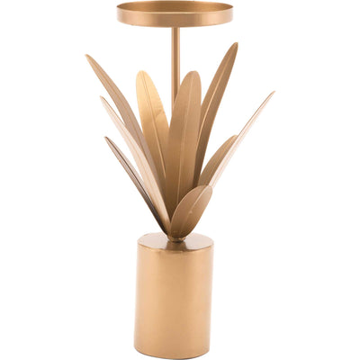 Leaves Candle Holder Gold