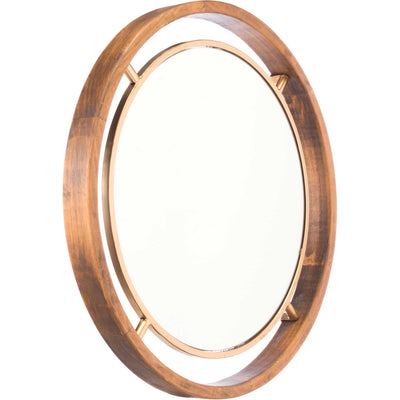 Central Round Wood Mirror Gold