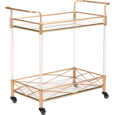 Lucite Bar Cart Gold