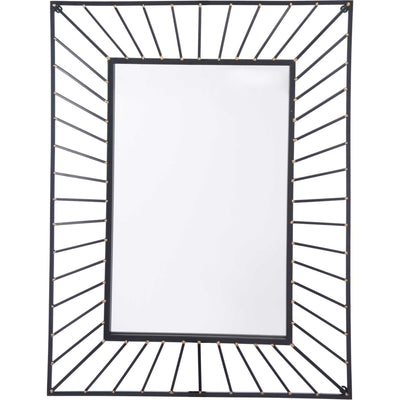 Sunburst Rectangular Mirror Black Black