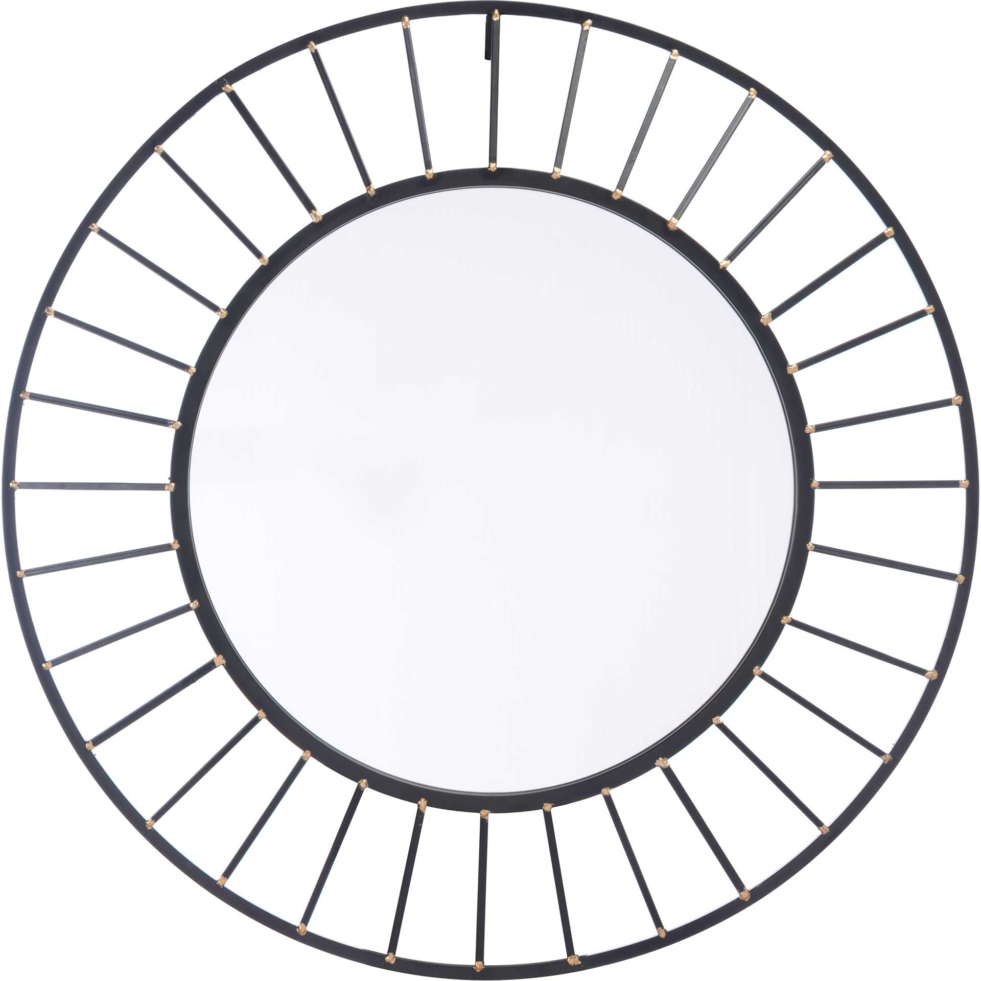 Sunburst Round Mirror Black