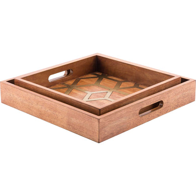 Clover Tray Brown (Set of 2)
