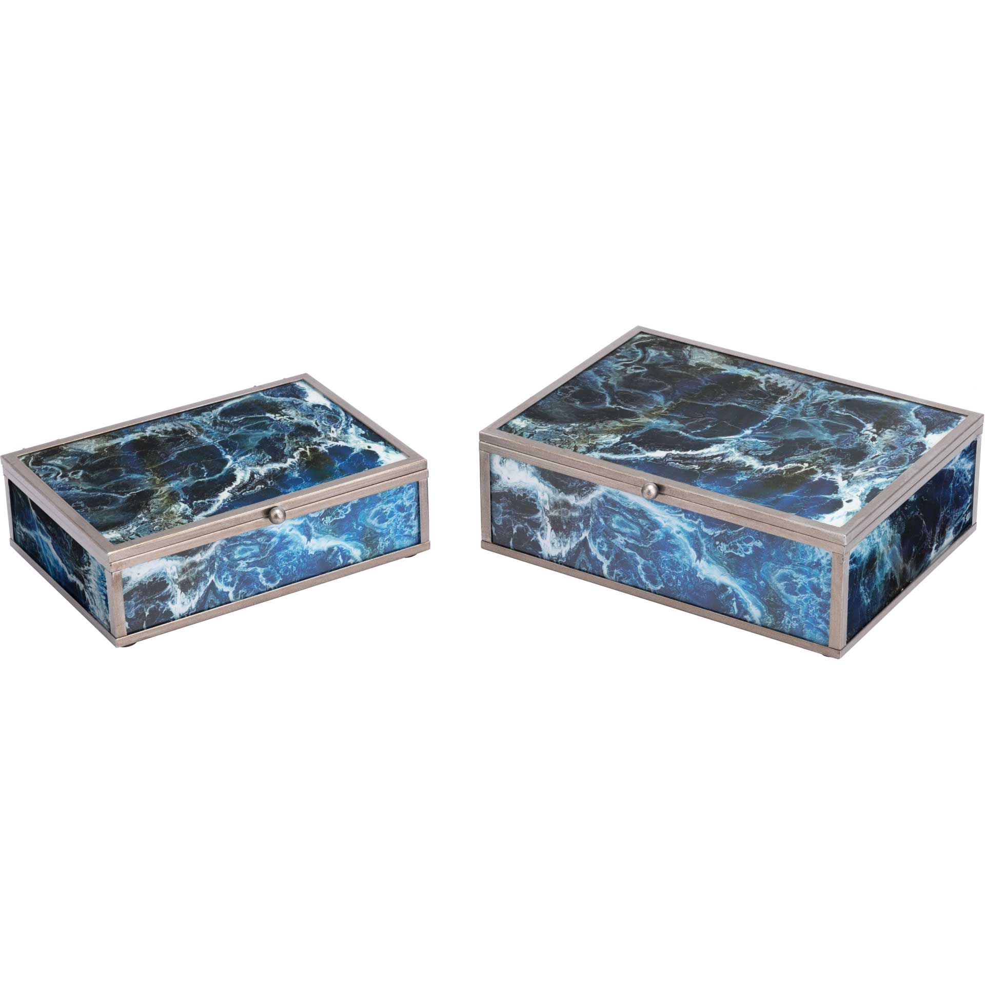 Mundi Boxes Blue Geode (Set of 2)