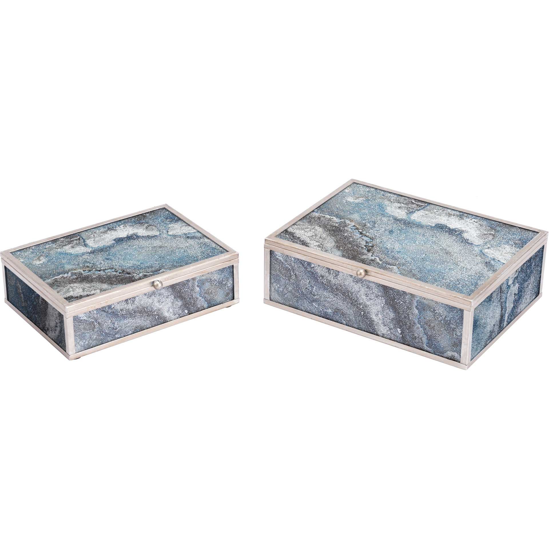 Mundi Boxes Silver Geode (Set of 2)
