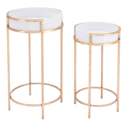 Frame Tray Table White/Gold (Set of 2)