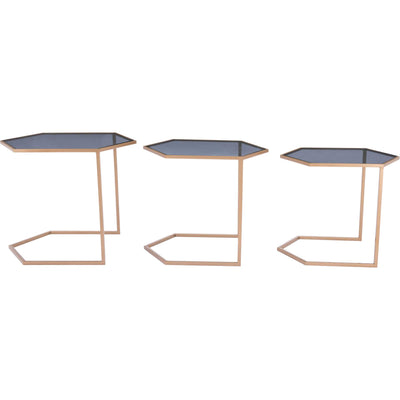 Geo Nesting Table Black/Gold (Set of 3)