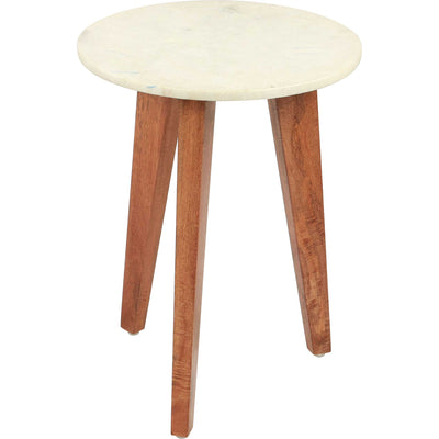 Axton End Table White Marble/Wood