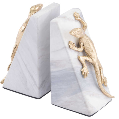 Iguana Bookends White/Gold