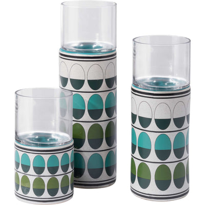 Retro Candle Holder Green/Teal