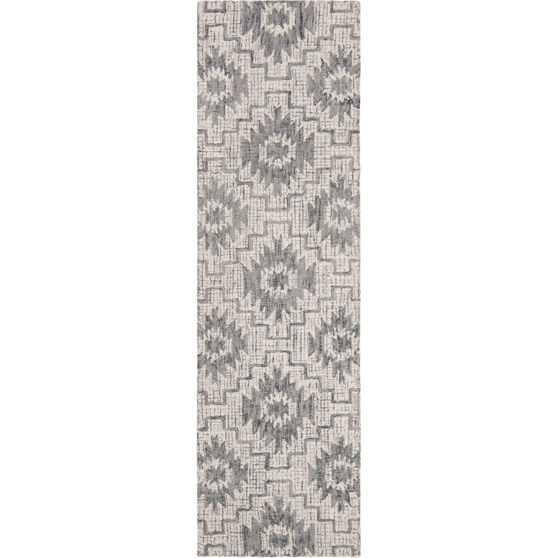 Abstract Ivory/Dark Gray Runner Rug