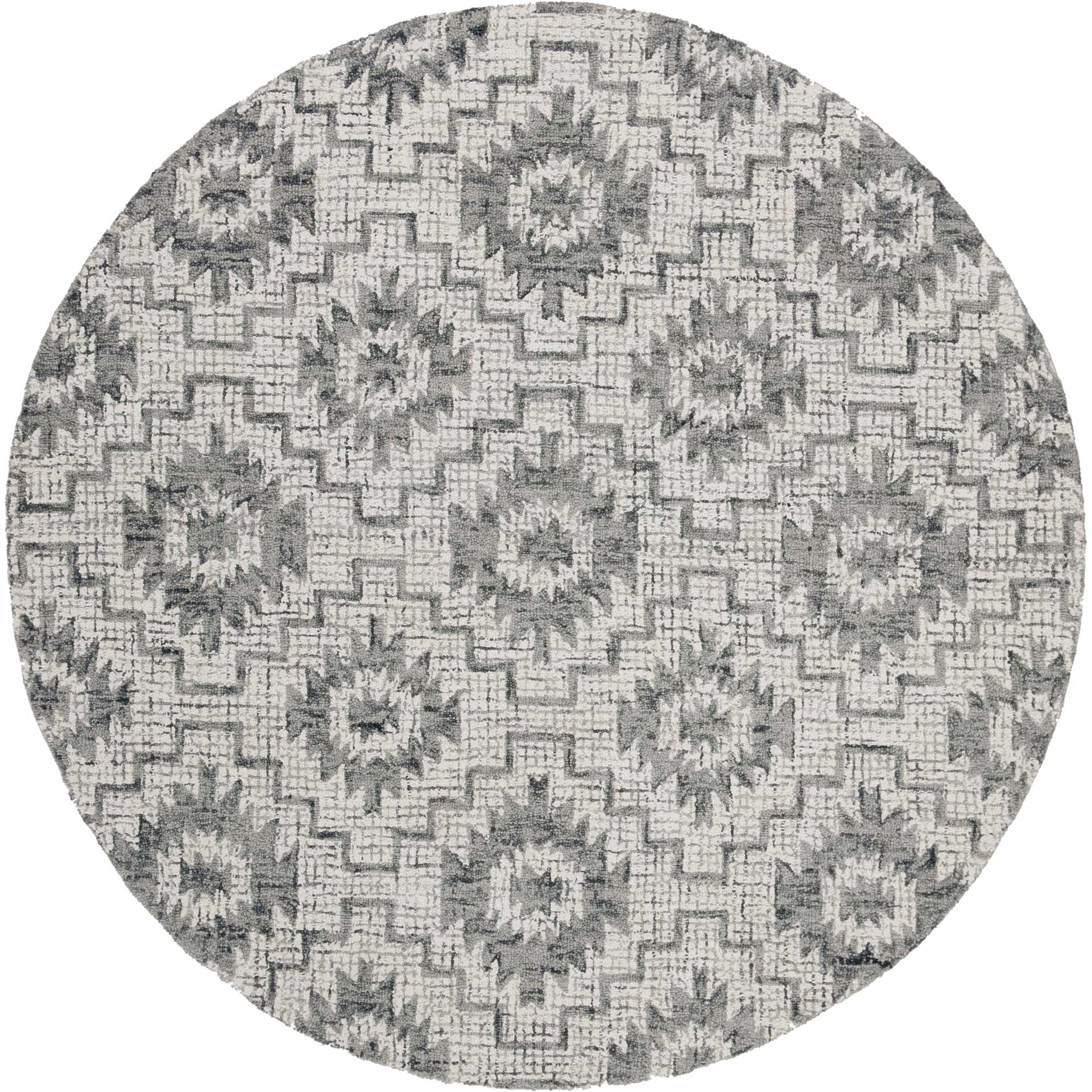 Abstract Ivory/Dark Gray Round Rug