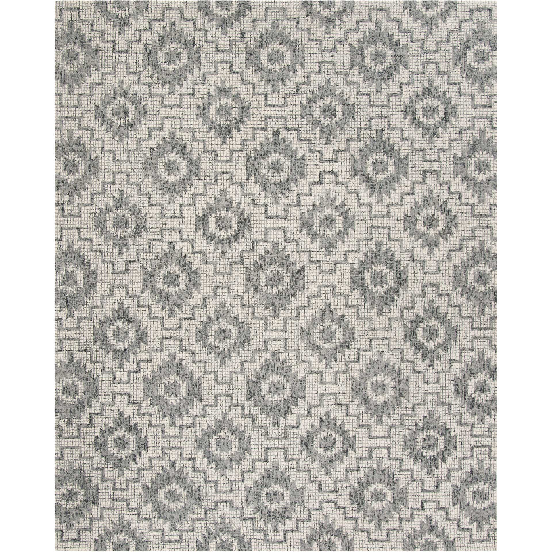 Abstract Ivory/Dark Gray Area Rug